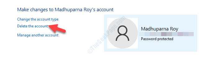 Apporta modifiche all'account Elimina l'account