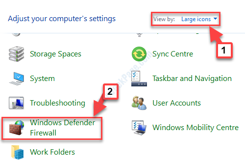 Pannello di controllo Visualizzazione iniziale tramite icone grandi Windows Defender Firewall