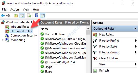 Windows Defender Firewall con regole di sicurezza avanzate in uscita sul lato sinistro