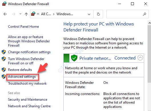 Impostazioni avanzate sul lato sinistro di Windows Defender Firewall