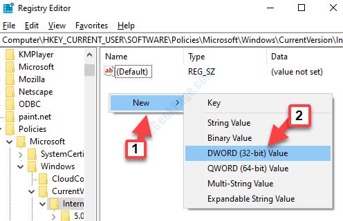 Editor del Registro di sistema Impostazioni Internet Lato destro Fare clic con il pulsante destro del mouse su Nuovo valore Dword