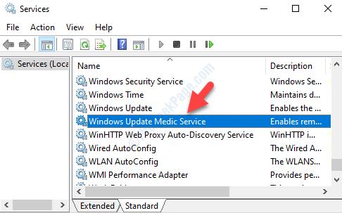 Nome dei servizi Servizio medico di Windows Update