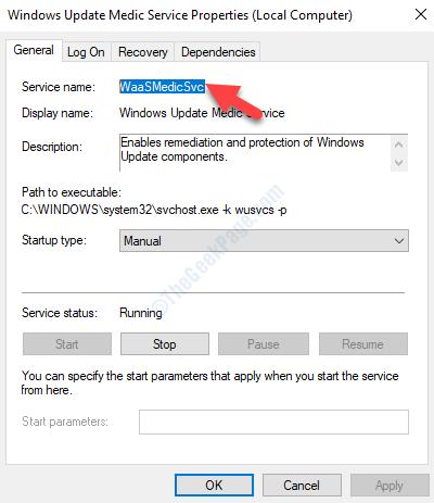 Waasmedicsvc Copia delle proprietà del servizio medico di Windows Update