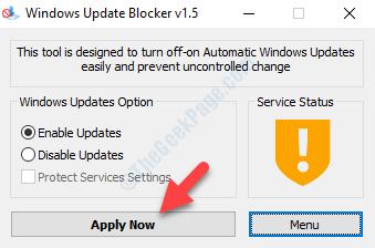 Blocco di Windows Update Applica ora