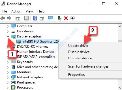 Schede video di Gestione dispositivi Fare clic con il pulsante destro del mouse su Aggiorna driver