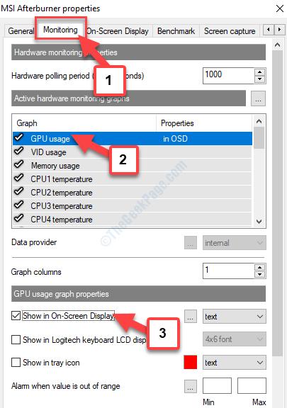 Proprietà Grafico di monitoraggio Utilizzo della GPU Utilizzo della GPU Proprietà del grafico Mostra su schermo Verifica visualizzazione