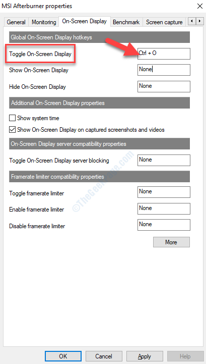 Visualizzazione su schermo Attiva / disattiva la visualizzazione su schermo Imposta tasto di scelta rapida Applica