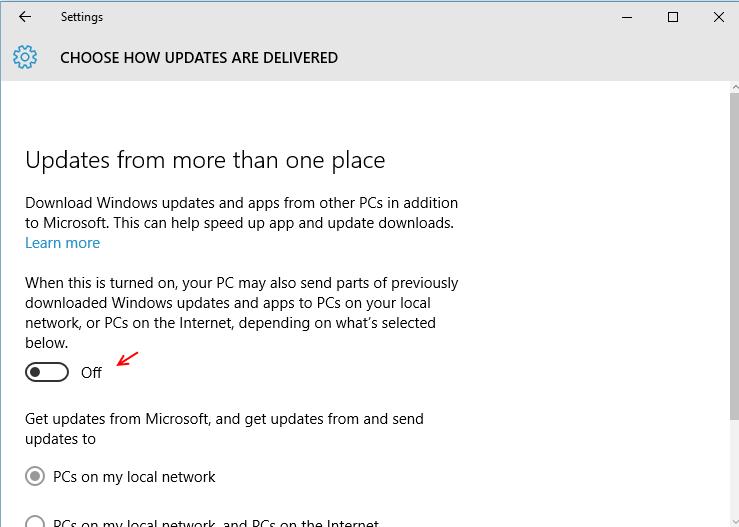 scegliere come consegnare gli aggiornamenti