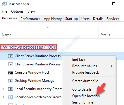 Task Manager Processi di Windows Processo di runtime del server client Fare clic con il pulsante destro del mouse su Apri percorso file