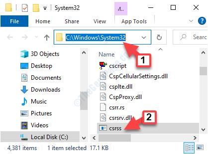 32 Sistema di localizzazione dei file Csrss
