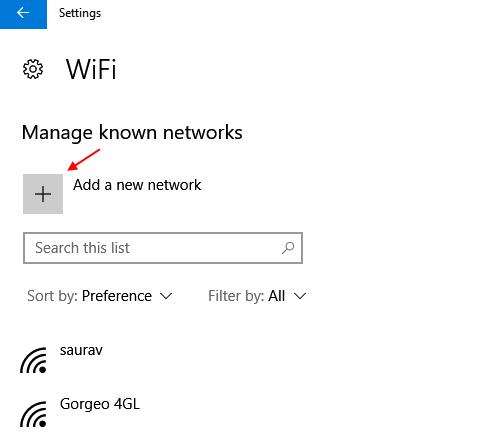 Aggiungi una nuova rete Wi-Fi Windows 10