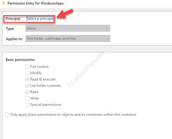 Voce delle autorizzazioni per l'entità Windowsapp Selezionare un'entità
