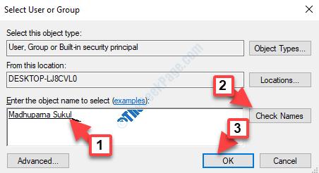 Seleziona utente o gruppo Immettere il nome dell'oggetto per selezionare Aggiungi nome Verifica nomi OK