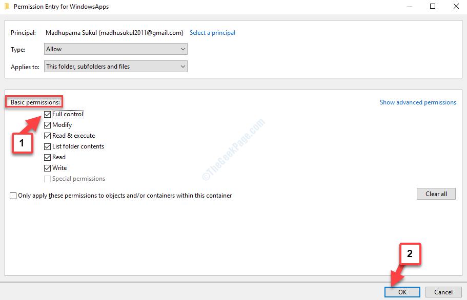 Immissione delle autorizzazioni per le app Windows Autorizzazioni di base Controllo completo Selezionare OK