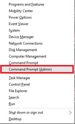 apertura della modalità amministratore cmd