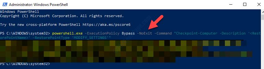 Windows Powershell (admin) Esegui il comando per creare un punto di ripristino del sistema Invio