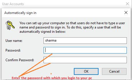 conferma password