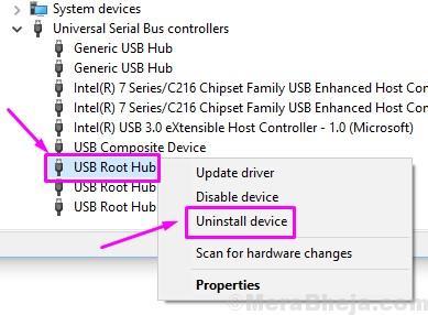 Dispositivo di disinstallazione dell'hub principale USB