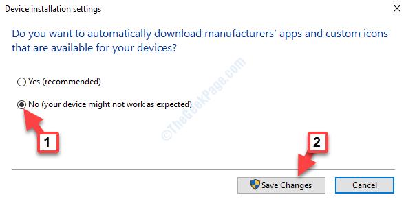 Impostazioni di installazione del dispositivo Non salvare le modifiche