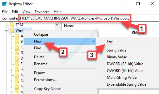 Editor del registro di sistema Vai al percorso di Windows Fare clic con il pulsante destro del mouse su Nuova chiave