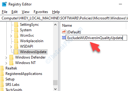 Nuovo valore Dword Rename Exclude wudriversinqualityupdate