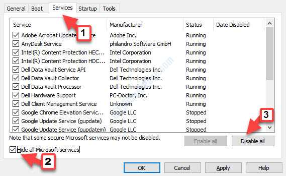 Servizi Nascondi tutti i servizi Microsoft Selezionare Disabilita tutto