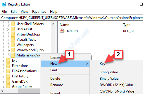 Visualizzazione multitasking Fare clic con il pulsante destro del mouse su Nuova chiave
