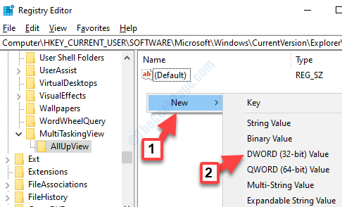 Allupview Lato destro Fare clic con il pulsante destro del mouse su Nuovo valore Dword (32 bit)
