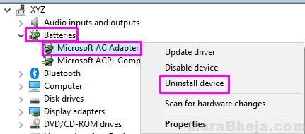 Disinstallare l'adattatore CA Microsoft