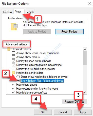 Opzioni di Esplora file Visualizza impostazioni avanzate File e cartelle nascosti Mostra file, cartelle e unità nascosti Applica OK