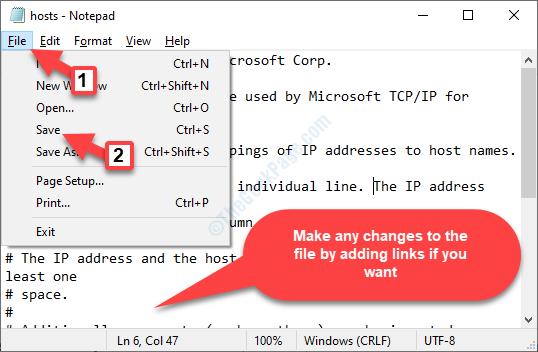 Host di blocco note Modifica file Salva file