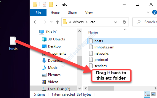 File host desktop Trascinalo nella cartella Etc in Esplora file