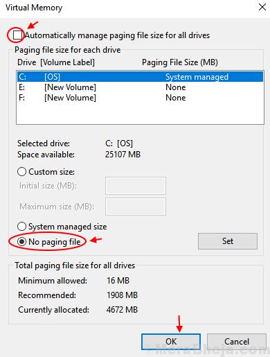 Disabilita file di paging Windows 10 Min