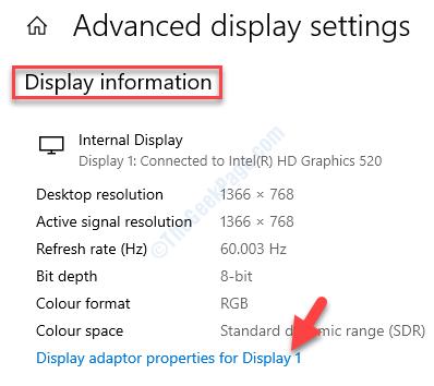 Impostazioni di visualizzazione avanzate Informazioni sullo schermo Visualizza le proprietà dell'adattatore per il display 1