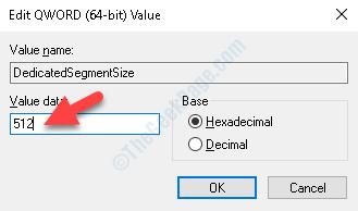 Modifica valore Dati valore Modifica il valore in 512 MB Ok
