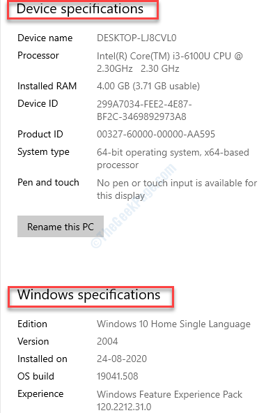 Impostazioni di sistema Informazioni sulle specifiche del dispositivo Specifiche di Windows