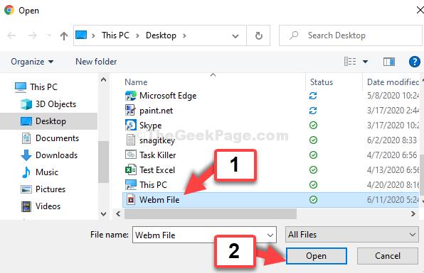 Google Chrome Ctrl + O Posizione file Seleziona file Apri Webm
