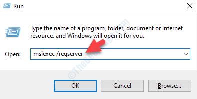 Esegui comando Cerca Digita Comando per registrare nuovamente Windows Installer Invio