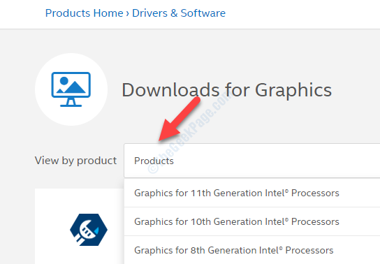 Download per visualizzazione grafica in base alla selezione del prodotto in base ai processori Intel di generazione