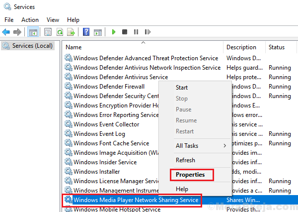 Disattiva il servizio di condivisione in rete di Windows Media Player