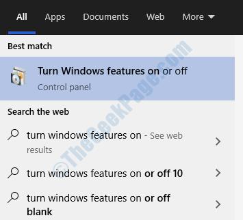 Attiva e disattiva le funzionalità di Windows