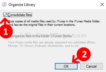 Organizza libreria Controlla i file consolidati Ok