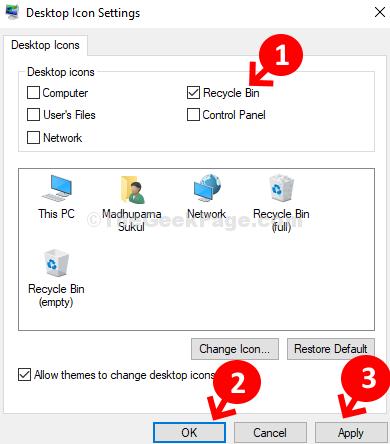 Impostazioni icona sul desktop Controlla Cestino Applica OK
