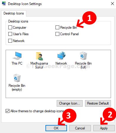 Impostazioni icona sul desktop Deseleziona Cestino