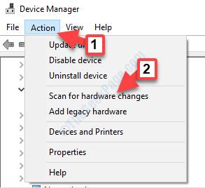Cerca le azioni di Gestione dispositivi per le modifiche hardware