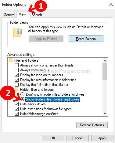 Opzioni cartella Visualizza cartelle e file nascosti Mostra file, cartelle e driver nascosti Applica OK