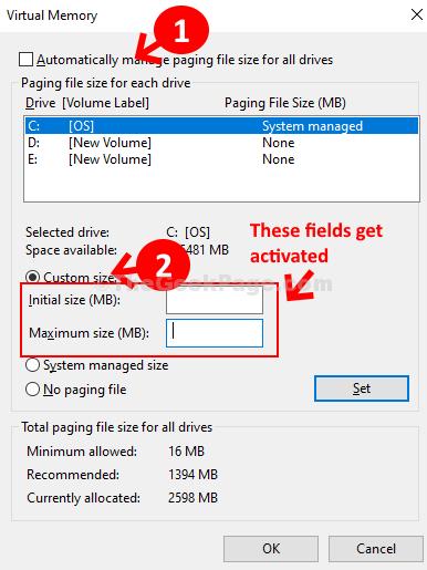 La memoria virtuale gestisce automaticamente le dimensioni del file di paging per tutti i dispositivi Dimensioni personalizzate