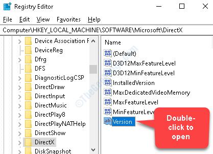Directx Registry Editor versione lato destro Fare doppio clic