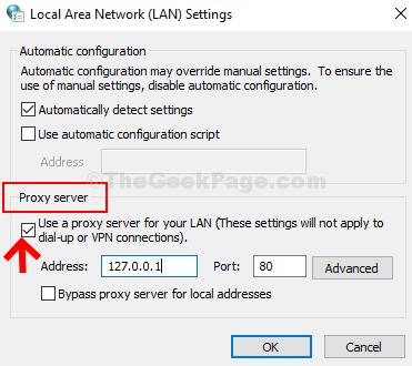 Controlla le impostazioni della LAN Usa un server proxy per la tua LAN