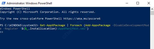 Windows Powershell (admin) Esegui il comando per registrare nuovamente tutte le applicazioni Invio